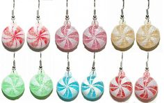 COLORFUL CHRISTMAS PEPPERMINT CANDY DANGLE EARRINGS - 6 CHOICES - U PICK #Unbranded #Dangle