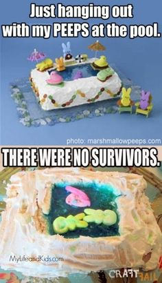 7. #PEEPS gâteau - 41 #Pinterest hilarant #échoue... → #Funny