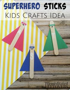 Superhero Activities: Superhero Sticks Craft for Kids- This DIY Superhero Sticks art project is a great way to get kids' imaginations working. They'll love how easy they are to personalize! This activity is a fun idea for a super hero party for kids! Vbs Crafts, Daycare Crafts, Camping Crafts, Craft Stick Crafts, Diy Crafts For Kids, Craft Ideas, Summer Crafts, Easy Art For Kids, Crafts Cheap