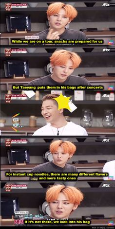 Then taeyang later explained in the V app session that he does that because he doesn't like to eat before performances, so he saves them and eats them after or else the other members (especially TOP) will eat everything and won't leave anything for him after. ㅋㅋ