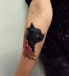 My tattoo#cattattoo#love#blackcat#roses