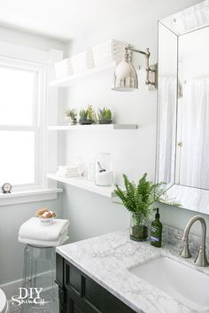 White and Marble Farmhouse Bathroom Makeover Mirror for our bathroom. Bathroom Plants, Bathroom Renos, White Bathroom, Bathroom Interior, Bathroom Ideas, Bathroom Shelves, Boho Bathroom, Bathroom Makeovers, Chic Bathrooms