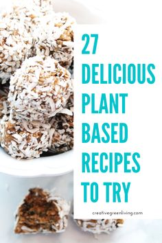 If you are hoping to add more plants to your diet and want to try eating like a vegan even if you aren't ready to go all the way, here are 27 yummy vegan and plant based recipes for breakfast, lunch, snack and dinner to get you started to eating healthier at home! #creativegreenkitchen #plantbasedrecipes #veganrecipes #healthyrecipes Fast Healthy Meals, Good Healthy Recipes, Whole Food Recipes, Easy Recipes, Healthy Food, Vegan Recipes, Easy Meals, Yummy Drinks, Yummy Food