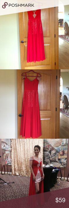 Gown Long gown. Red. Glitter. Off shoulder. Only use once. Sequins mini dress. jj hansen Dresses Prom