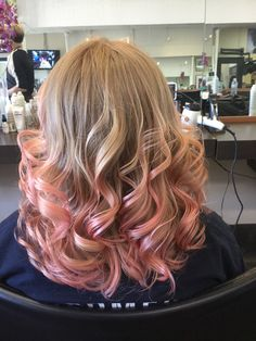 Pastel pink for grad and flat iron curls by Jenn