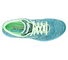 A sporty favorite gets even better in the SKECHERS Flex Appeal 2.0 - High Energy shoe.  Soft flat knit fabric upper in a lace up athletic sporty training sneaker with stitching accents and Air Cooled Memory Foam insole.