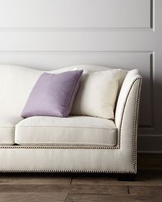 """Kirk"" Sofa by Bernhardt at Neiman Marcus. switch the purple accent pillow for whiskey color, blk and cream combo"