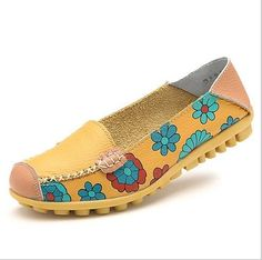 2017 Fashion Genuine Leather Women Flats Floral Print Patchwork Single Shoes For Woman Slip-on Mother Shoes sapatos femininos