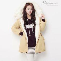 Faux-Fur Trim Fleece-Lined Coat from #YesStyle <3 Stylementor YesStyle.com