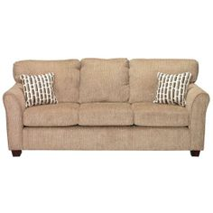 """"""" Collection Natural Upholstered Sofa With charming contrast pillows featuring an understated modern design and familiar upholstery, this loveseat strikes the balance between style and comfort. Sofa Styling, Brown Sofa, Sofa Shop, Bed Wall, Contemporary Sofa, Upholstered Sofa, Sleeper Sofa, Dream Decor, Fabric Sofa"""