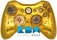 Gold Chrome Full Ammo Xbox 360 Controller - KwikBoy Modz #customcontroller #moddedcontroller #gold #goldcontroller #bulletbuttons #xbox360 #xbox360controller Xbox 360 Controller, Girl Cave, Gold Chrome, Gaming Accessories, Consoles, Playstation, Random Things, Video Games, Hobbies