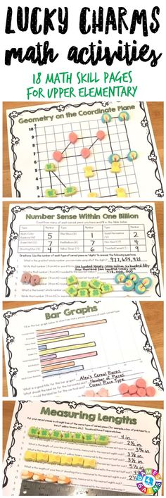 """My students were SO engaged and excited!"" Lucky Charms Math Project contains 17 printable math activities to use with Lucky Charms cereal. Just print, grab some cereal, and get ready to have tons of fun! Skills covered: operations, number sense, patterns, multiples, factors, mean, fractions, decimals, graphs, coordinate plane, measurement, and more! Perfect for celebrating St. Patrick's Day or for any time of year! Ideal for grades 4-6."