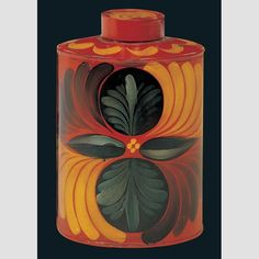 """Oval Tea Canister/ Artist unidentified, Pennsylvania, United States, c. 1825–1850, paint on tinplate, 5 1/8 × 3 9/16 × 2 3/4"""", collection American Folk Art Museum, gift of the Historical Society of Early American Decoration: 76.1.7.  Photo credit: John Parnell."""
