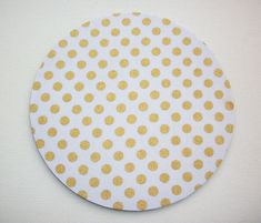 Mouse Pad mousepad / Mat  round  Shiny gold polka dots by Laa766  chic / cute / preppy / laptop accessory / desk, computer accessory / office decor / gift / patterned design / school