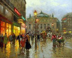 Edouard Cortes oil painting to HD Print canvas Place de lOpera Paris (NO FRAME) #Impressionism