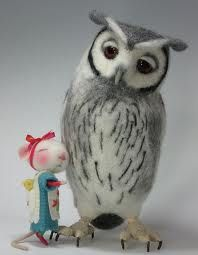 Needle felt Owl by Helen Priem , mouse by Barby Anderson