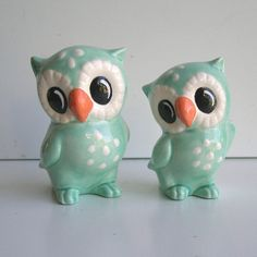 Love Owl Figurines in Aqua Blue by fruitflypie on Etsy Kitsch, Owl Home Decor, Gift Wrapper, Owl Always Love You, Ceramic Owl, Vintage Owl, Owl House, Owl Art, Cute Owl