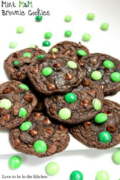 Mint M&M Brownie Cookies