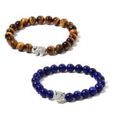 Set of 2 - Tigers Eye, Lapis Lazuli, Simulated White Diamond and Simulated Emerald Elephant and Leopard Head Stretchable Bracelet (Size 7) in Silver Tone