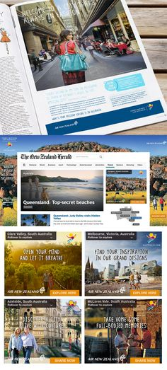 Tourism Australia advertising suite. Press ads, Homepage Takeover and Web Banners.