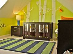 Bright Lime Green Scheme Nursery with Green and Black Thick Striped Rug