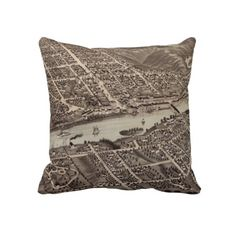 Vintage Pictorial Map of Augusta Maine (1878) Pillow from Zazzle.com $62.40