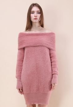 A Warm Day Off-shoulder Sweater Dress in Pink Vintage Tops, Mohair Fabric, Indie, Off Shoulder Sweater, The Chic, Retro, Unique Fashion, Short, Pink Roses