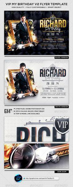 VIP My Birthday V2 Flyer Template #elegant #modern  • Download here → https://graphicriver.net/item/vip-my-birthday-v2-flyer-template/8280828?ref=pxcr