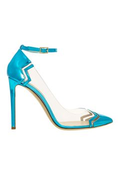 Nicholas Kirkwood Blue and Transparent Ankle Strap Pumps Resort 2015 #Shoes #Heels