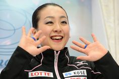 Mao Asada of Japan celebrates her score after her routine in the Ladies Free Skating during ISU World Figure Skating Championships at Saitam...