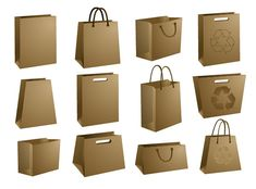 Bolsas de Papel cartón para packaging en PSD | Puerto Pixel | Recursos de Diseño