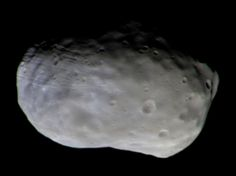 Color composite of Phobos taken with TGO's CaSSIS camera on November 26, 2016. The observation was made at a distance of 4,785 miles (7,700 km). To create the final color image, two images were taken through each of the four color filters of the camera -- panchromatic, blue-green, red and infrared -- and then stitched together and combined to produce the high-resolution composite. Two of the color filters used by CaSSIS lie outside the wavelength response of the human eye, so this is not a…