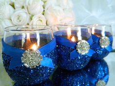 Weddings, Wedding Candles, Candle Holder, Votives, Votive Holder, Blue, SET OF 6, Tea Light Holder, Wedding Decoration, Ceremony Candles