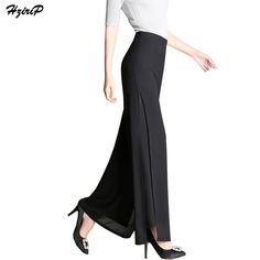 Hzirip Fashion Elegant Chiffon Flare Pants Women Office High Waist Wide Leg Pants  2017 New Summer fb6757065be