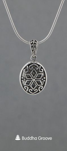 Geometric Lotus Relief Pendant, Sterling Silver