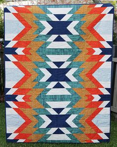 "Fun ""Go West"" quilt by Kirsty Bonjour of Bonjour Quilts. Pattern available here: http://bonjourquilts.bigcartel.com/product/go-west"