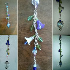 Wire wrapped beaded sun catcher with flowers and leaves and crystal prism.
