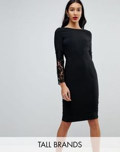 Long Sleeve Lace Pencil Dress - Black Paper Dolls TPZgP