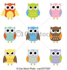 Vector - Color owls clip art - stock illustration, royalty free illustrations, stock clip art icon, stock clipart icons, logo, line art, EPS picture, pictures, graphic, graphics, drawing, drawings, vector image, artwork, EPS vector art