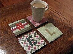 Coasters made with tiles and scrapbook paper