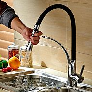 Contemporary+Pull-out/Pull-down+Deck+Mounted+Pullout+Spray+with++Ceramic+Valve+Single+Handle+One+Hole+for++Chrome+,+Kitchen+faucet+–+USD+$+124.19