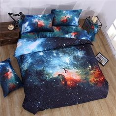 MIFE TEXTILE 4PCs 100% Polyester Duvet Cover Sets, 3D Galaxy Printing Themed, Comfortable, Soft Bedding Set(one bed sheet,one duvet cover and 2 pillow cases) QUEEN Size. *** You can find out more details at the link of the image.