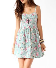 Cute pastel green and pink floral dress from Forever21.