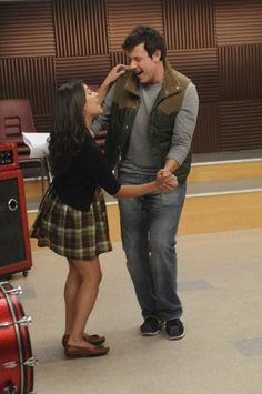 Still of Lea Michele and Cory Monteith in Glee, December 2009 <3