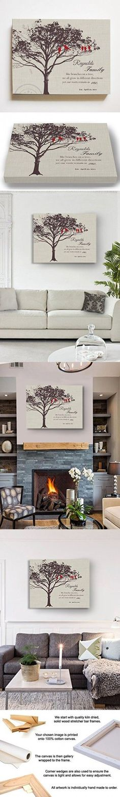 MuralMax Personalized Family Tree & Lovebirds, Stretched Canvas Wall Art, Make Your Wedding & Anniversary Gifts Memorable, Unique Wall Decor - Ivory # 2 - Size 30 x Ribbon On Christmas Tree, Christmas Tree Toppers, Christmas Tree Decorations, Wedding Decorations, Tree Canvas, Wall Canvas, Wall Art, Canvas Art, Wall Decor