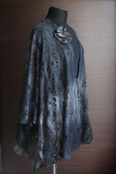 Marina Shkolnik Cobweb Felted Poncho Custom 50/50 Extra fine Australian merino wool / mulberry silk