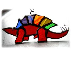 Dinosaur+Suncatcher+Stained+Glass+Stegosaurus+Rainbow+Jurassic £11.00