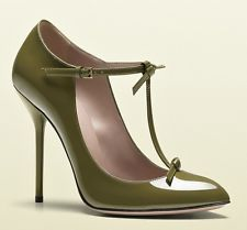 $695 New GUCCI Olive Green BEVERLY Size 37 T-Strap Patent Pumps Shoes Heels