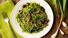 A recipe for ramp pasta -- pureed ramps in the pasta dough -- served with a simple morel mushroom ragout, and more ramps. Cheese Recipes, Pasta Recipes, Onion Recipes, Wild Onions, Sweet Butter, Pasta Machine, Stuffed Mushrooms, Stuffed Peppers, Pasta Maker