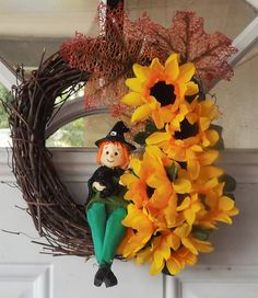 Check out this item in my Etsy shop https://www.etsy.com/listing/245201637/grapevine-wreath-8-fall-color-sunflowers